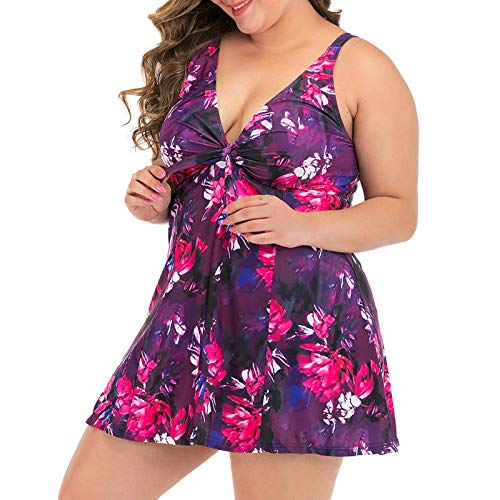 EUCoo Women Plus Size Bikini One-Piece Retro Solid Mesh Swimwear High Waist Bathing Suit Tummy Control Swimsuit