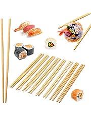 Relaxdays Pack de 10 Pares de Palillos Chinos Desechables, Bambú, Marrón, 24 cm
