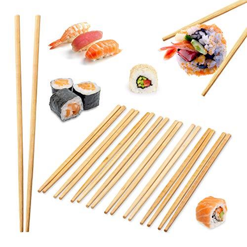 Relaxdays 10 Paar Essstäbchen, chinesische Stäbchen, lebensmittelecht, Einweg Chopsticks Set, 24 cm lang, Bambus, natur