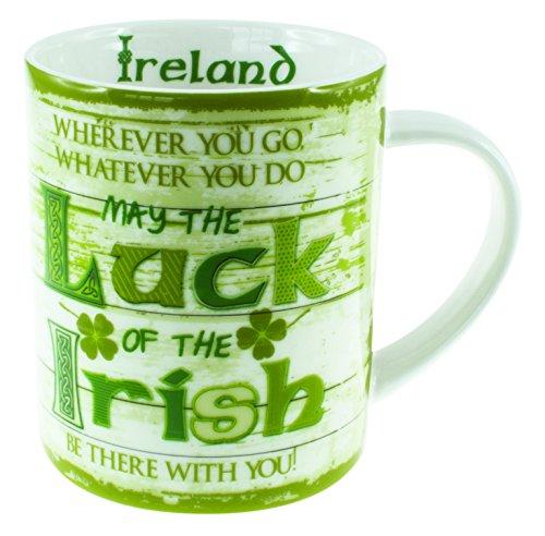 Jarra de Irlanda con diseño de trébol verde y blanco