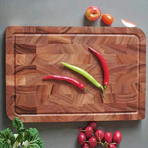 Tabla de cortar EXTRA GRANDE, bloque de carnicero de grano de extremo rectangular, bloques de cortar gruesos antideslizantes de cocina Tabla de cortar de madera de acacia