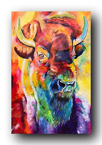 Bild, Gemälde, Sabrina Seck, Bison, Unikat, öl, abstrakt, handmade, original, painting, acryl, modern, XXL, Dekoration, Titel: gentle strength (75 cm x 115 cm)