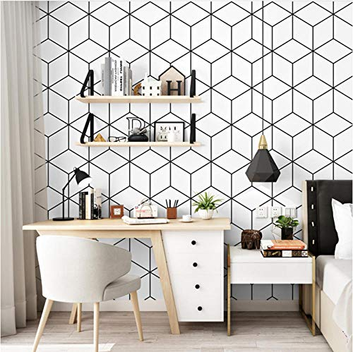 Papel de pared 3D geométrico nórdico láctico Vinilo negro Papel pintado de rejilla blanco Rollo 3D para sala de estar Fondo Mural Papel Pintado 5.3 ㎡