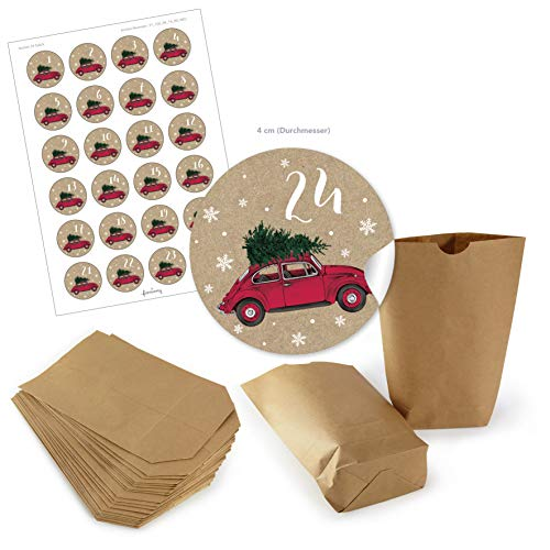 Adventskalender Kerstmis geschenktasje BRUIN 14 x 22 cm + Adventskalender 1-24 stickers Ø 4 cm Kerstmis Auto Beatle Kever Boom KRAFTPAPIER LOOK
