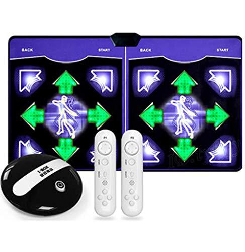HTD Drahtlose Doppeltanzmatten, HD rutschfeste Schaumspielmatte Verdickung Schallschutz Weiche Tanzmatten für Erwachsene/Kinder TV-Computer Dual-Use