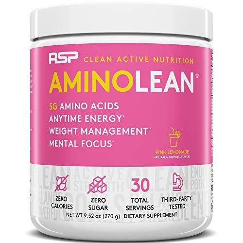 RSP AminoLean - All-in-One Pre Workout, Amino Energy, Weight Management Supplement with Amino Acids, Complete Preworkout Energy for Men & Women, Pink Lemonade, 30