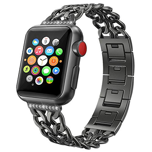 NO1seller Top Band Compatible for Apple Watch Series 6 SE 5 4 40mm 44mm Series 3 2 1 38mm 42mm Women Men,Cowboy Stainless Steel Metal Replacement Accessories Bling Jewelry iWatch Wristband Strap Bracelet
