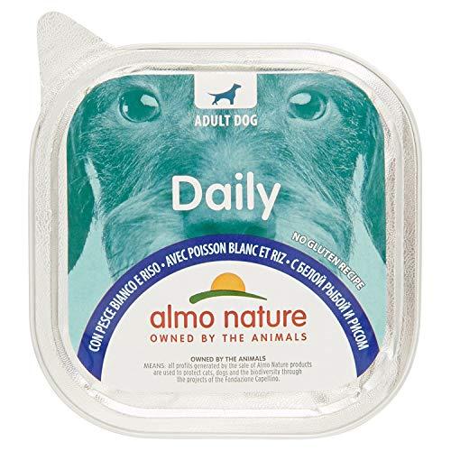 almo nature Daily con Pesce Bianco & Riso - Ricetta Senza Glutine - Cibo Umido per Cani Adulti - Pacco da 10 x 300 g