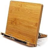 BINSENI Soporte para Libros,Binsein de Recetas con 2 Soportes de Metal para Libros (bambú), Diseño Elegante para Libros, Cocinas, Recetas, iPad, Tabletas (A)