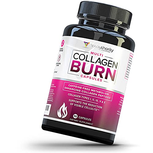 Multi Collagen Burn: Multi-Type Hydrolyzed Collagen Protein Peptides with Hyaluronic Acid, Vitamin C, SOD B Dimpless, Types I, II, III, V and X Collagen, Caffeine-Free, 90 Capsules