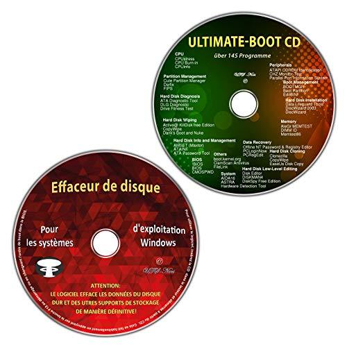 Ultimate Boot CD / First Aid et Emergency CD + effaceur de disque dur pour les systèmes d'exploitation Windows 10-8-7-Vista-XP (32 & 64 bits) (2 CDs Economy Set)