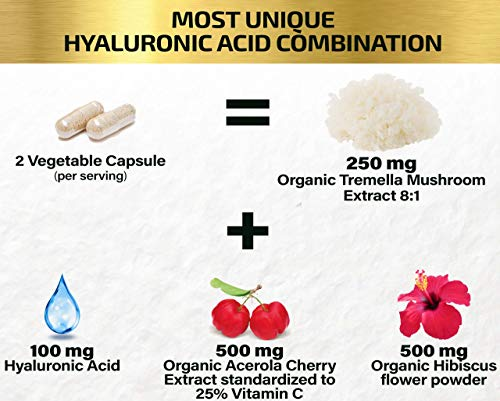 51q9pLB6JoL. SL500  - Natural Hyaluronic Acid Supplement 5X Stronger Hydration Pills from Pure Tremella Mushroom with Vitamin C & Hibiscus - Anti-Aging Skin Supplement Anti Wrinkle Capsules