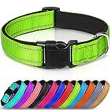 Joytale Reflective Dog Collar,Soft Neoprene Padded Breathable Nylon Pet Collar Adjustable for Small Dogs,Green,S