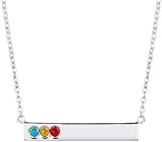 Custom 3 Stone Simulated Birthstone Name Bar Necklace (16