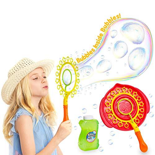 KreativeKraft Pomperos para Niños, Kit para Crear Pompas de Jabon Gigantes, Incluye Bote Liquido Pompas de Jabon, Juegos de Agua para Jardin, Regalos Originales para Niños 3+