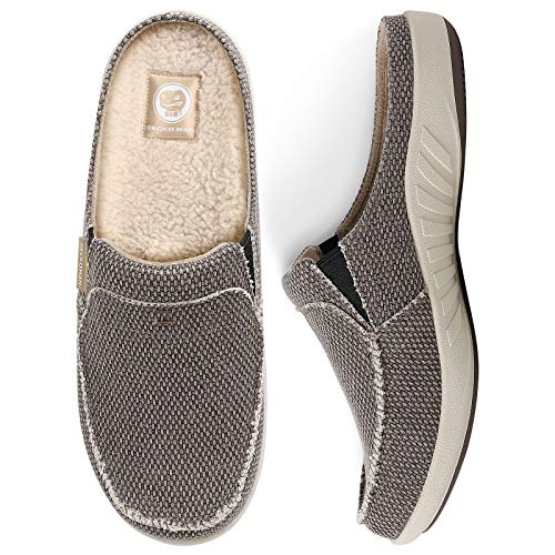 Mens House Slippers with Arch Support, Canvas House Slipper for Men with Fuzzy Wool Insole and Velvet Lining, Slip on Clog House Shoes with Indoor Outdoor Anti-Skid Rubber Sole, Brown