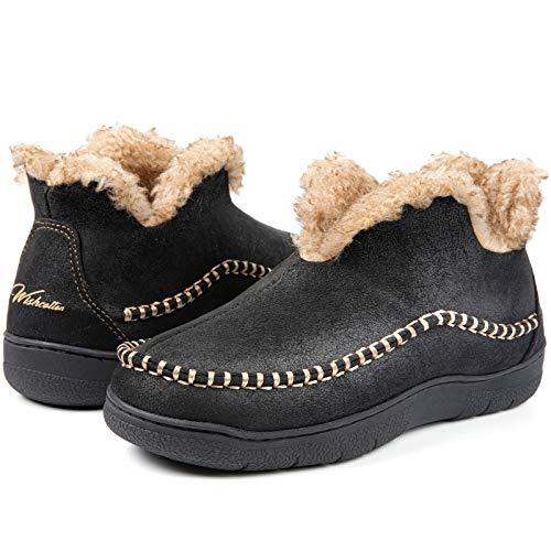 Wishcotton Men's Microsuede Fuzzy Warm Fleece Lining Moccasin Slippers Cozy Memory Foam Indoor Outdoor House Shoes Black,11 M US