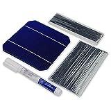 Panel Solar De Bricolaje Set De Celdas 100W 40 Uds 125MM Solar Monocristalino Celular 5x5x5 con 20M Pestañas Cable 2M Barra De Alambre Y 1 Uds Lápiz De Soldadura