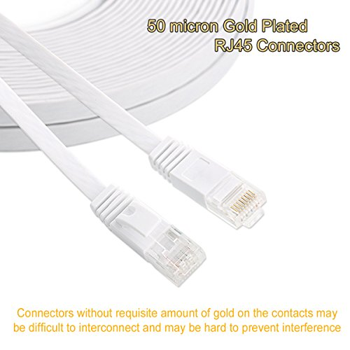 Cat 6 Ethernet Cable 50 ft White - Flat Internet Network Lan patch cords – Solid Cat6 High Speed...