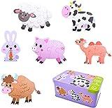 Puzzle de Madera, Rompecabezas Puzzle Juguetes Bebes para Niños de 1 2 3 4 5 Años Montessori Educativos Regalos 3D Patrón Puzles con Caja de Rompecabezas de Metal (Ganado)