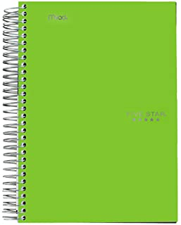 "Five Star Spiral Notebook, 1 Subject, College Ruled Paper, 100 Sheets, 7"" x 5"", Personal Size, Lime (73964)"