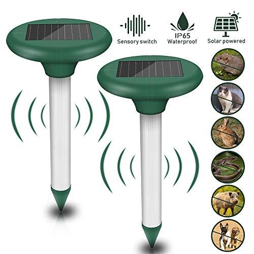 Vivibel - 2 unidades de ahuyentador solar de topos, ultrasónico, para animales, con protección IP56, resistente al agua, antitopos, repelente de plagas para el jardín