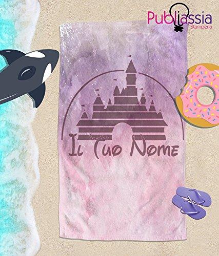 Publiassia Stamperia Disney Telo Mare Personalizzato con Nome Idea Regalo Asciugamano Bambini Principessa Mare Vacanze Estate Piscina (100_x_150_cm)