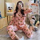 FYMIJJ Conjunto de Pijama,Satin Silk Pajamas for Women's Set Pyjama Autumn Spring Long Sleeve Women Nightwear Set Cardigan Plus Size Sleepwear Pijama 2Pcs,fenxiong,XXL