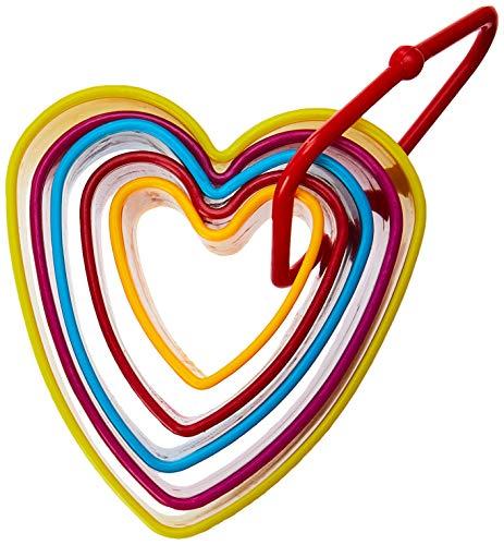 Cortador Coração 5 Peças Carol Yazi Sortido - Azul, Vermelho E Amarelo No Voltagev