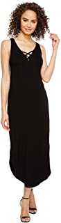 Michael Stars Women's 2x1 Rib Front to Back Lace Up Midi Dress