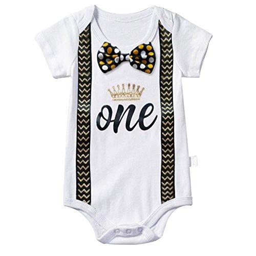 TTYAOVO Baby Jungen Mein Erster Geburtstag Fliege Bodysuit Romper Kleidung Outfits 1 Jahre Punkt Gelb