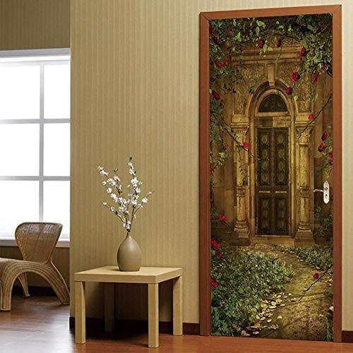 XXXCH 3D deursticker, roze, oude deur, deurbehang, zelfklevend, deurposter - fotobehang, deurfolie, poster behang, zee, sticker, zelfklevende muurafbeelding, PVC waterdicht behang 95X215CM