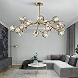 Modern Sputnik Chandeliers Crystal Pendant Light with 18 Lights Contemporary Branch Chandeliers Gold Ceiling Light Fixtures for Living Room Bar Shop
