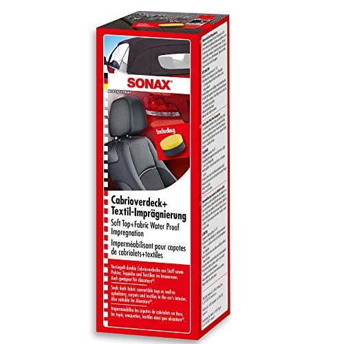 SONAX Cabrioverdeck+TextilImprägnierung (250 ml) Versiegelung und Imprägnierung für dunkle Cabrioverdecke aus Stoff. Schützt und imprägniert auch Textilien und Teppiche im Innenraum | Art-Nr. 03101410