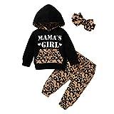 Survêtement Urmagic pour bébé fille - Vêtements pour maman - Manches longues - Léopard - Pull à capuche - Pantalons - Tenues - Noir - 6-12 mois