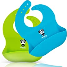 Silicone Baby Bibs, Waterproof Baby Bib for Girls and Boys Easily Wipe Clean with Food Catcher Pocket, Set of 2 Colors (Panda-Green/Sky Blue)