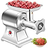 Happybuy Commercial Meat Grinder 450Lbs/Hour 1100W Electric Sausage Stuffer Stainless Steel 220 RPM 1.5HP for Industrial and Home Use, 450LB, Sliver