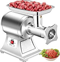 Happybuy Commercial Meat Grinder 550Lbs/Hour 1100W Electric Sausage Stuffer Stainless Steel 220 RPM 1.5HP for Industrial and Home Use, 550LB, Sliver
