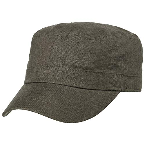 Lipodo Leinen Armycap Damen/Herren - Leinencap mit Schirm - Sommercap in One Size (54-58 cm) - Größenverstellbare Kappe (Klettverschluss) - Mütze Frühjahr/Sommer Oliv One Size