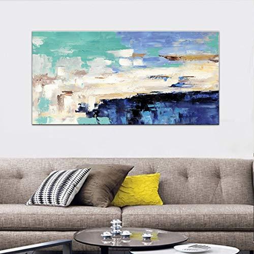 ZWBBO Canvas schilderij HD druk canvas schilderij lichtblauw landschap olieverfschilderij op canvas muurkunst slaapkamer woonkamer bank Home Decorati