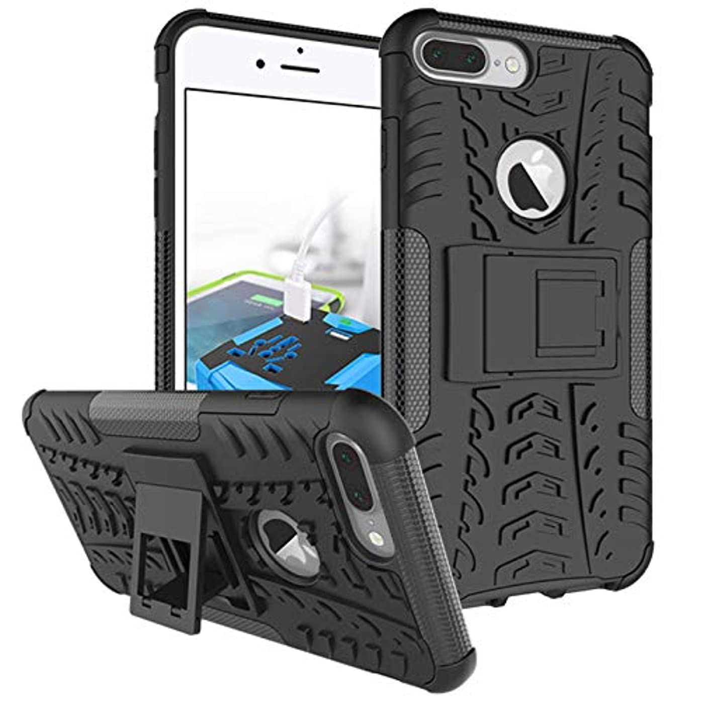 iPhone 7 Plus Case, iPhone 8 Plus Case, Viodolge [Shockproof] Rugged Dual Layer Protective Phone Case Cover with Kickstand for iPhone 7 Plus / 8 Plus (Black)