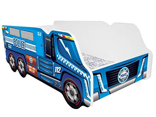 Kleinkinder Kinder Bett inkl. Matratze Auto Truck – POLICE TRUCK