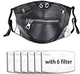 Black Leather Bondage Men Women Adjustable Earloop Face Cover MAK Anti Pollution Washable Reusable with 6 Filters