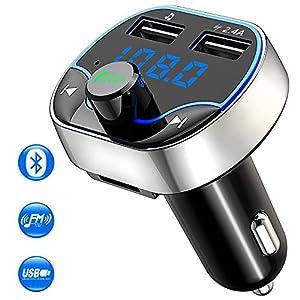 Cocoda Transmisor FM Bluetooth Coche Manos Libres, Inalámbrico Reproductor MP3 Mechero Coche con 2 Puerto USB 5V / 2.4A & 1A, Cargador Adaptador de Coche Acepta Tarjetas SD y Memoria USB