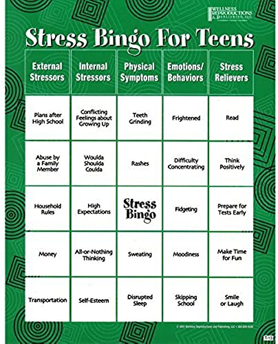 Stress Bingo for Teens  An Engaging and Educational Game About Stress and Ways to rotuce It by Wellness Reproductions & Publishing