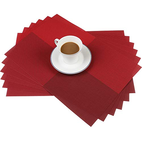 Famibay Red PVC Placemats Washable Plastic Placemats Sets of 6 for Dining Table Non Slip Table Mats (Red set of 6)