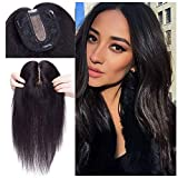 18 Inch 100% Remy Human Hair Silk Base Top Hairpiece for Women Clip in Crown Topper Hand-made Top Toppee Hair piece 120% Density Middle Part with Thinning Hair Loss Hair #1B Natural Black 57g