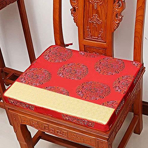YWYW Cojín de Caoba para Silla [Estilo Chino] Cojines Alfombrilla de Caoba para sofá Cojín de Esponja de Madera Maciza Alfombrilla para Asiento de sillón [clásica] -C 38x44x5cm