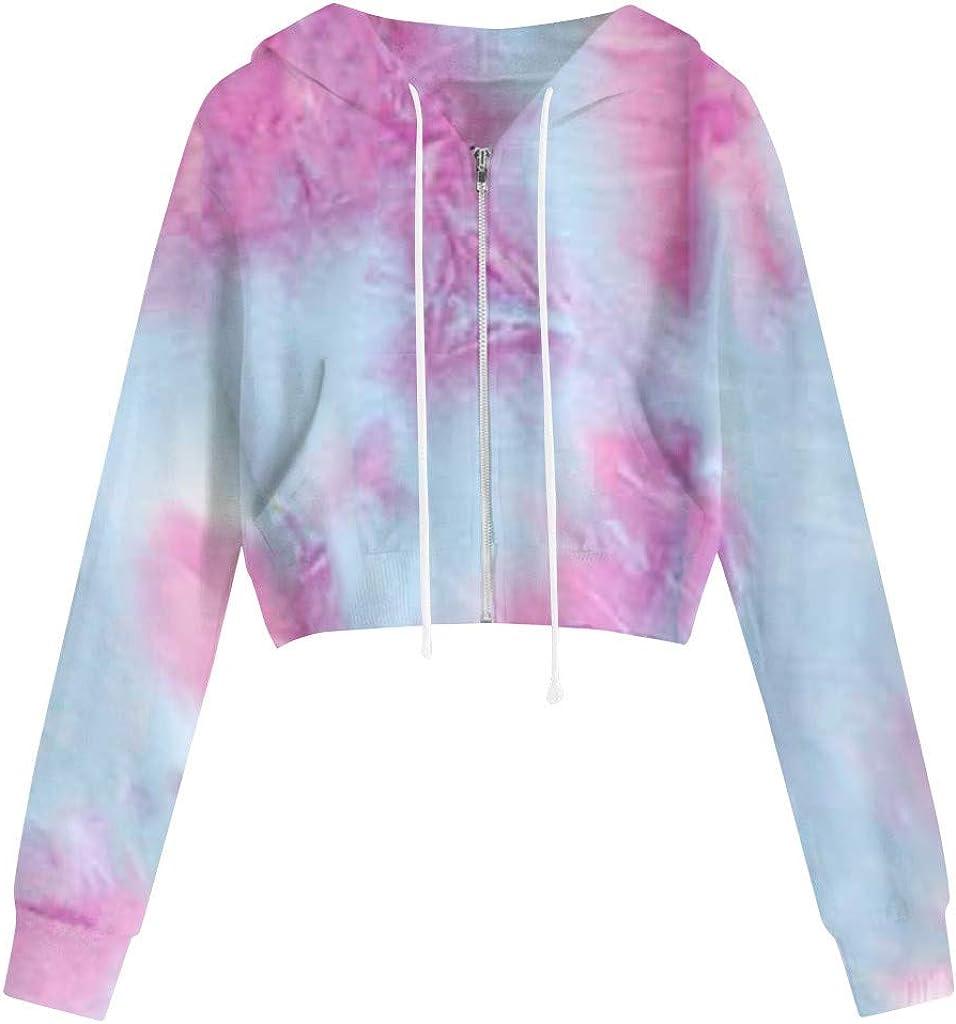 Eduavar Womens Hoodies,Women Teen Girls Fashion Tie Dye Long Sleeve Crop Top Hoodie and Sweatshirt Casual Jumper Outwear