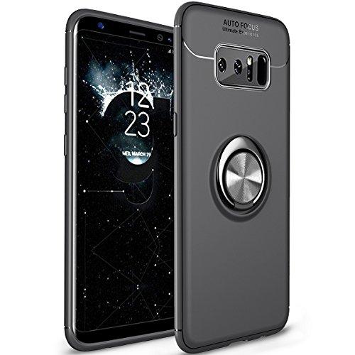 WATACHE Galaxy Note 8 Hülle, Metall Ring Grip Halter Ständer Slim Soft TPU Schutzhülle mit Unterstützung Magnetische Auto Mount Funktion für Samsung Galaxy Note 8(Schwarz)